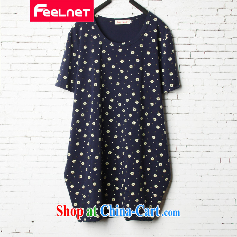 feelnet 2015 summer new loose video thin XL women mm thick stretch stamp duty short-sleeve shirt T summer 1503 blue 48 code - Recommended 80 - 130 kg