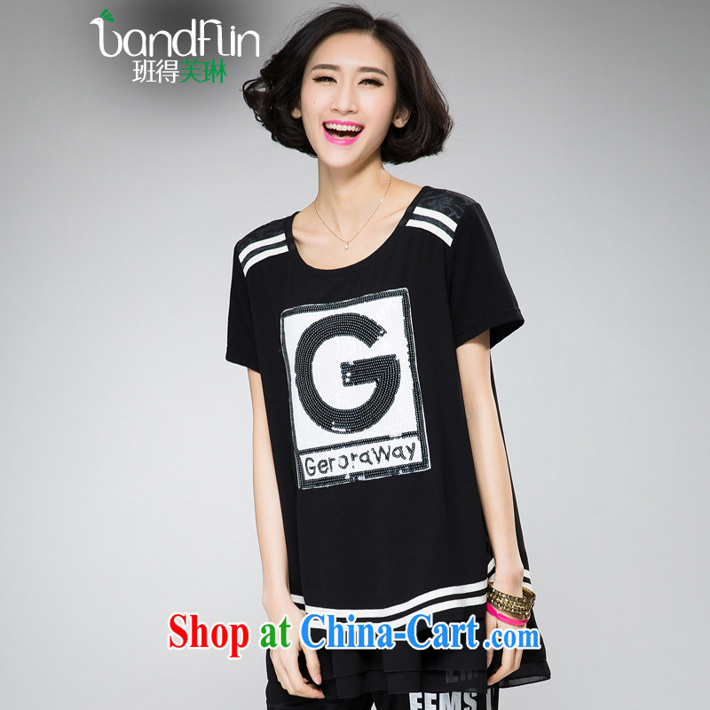 Classes, Evelyn, 2015 spring and summer thick mm new, larger clothes, letters stamp loose video thin shirt B 2107 black XXXXL