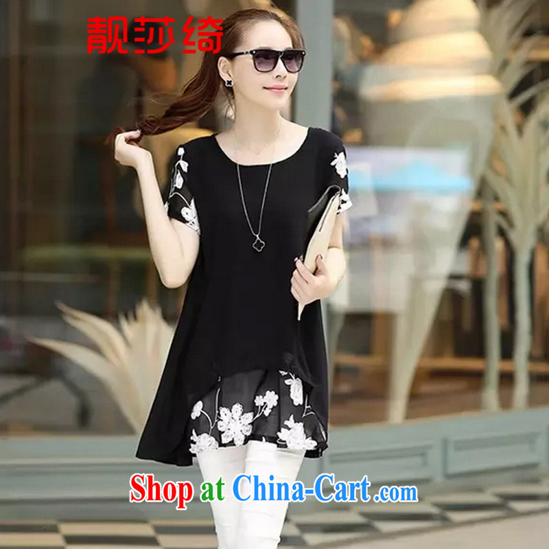 Thanks for Elizabeth's cross-2015 summer new short-sleeved clothes snow woven shirts thick MM larger women's clothing dresses Y 6329 black XXXL
