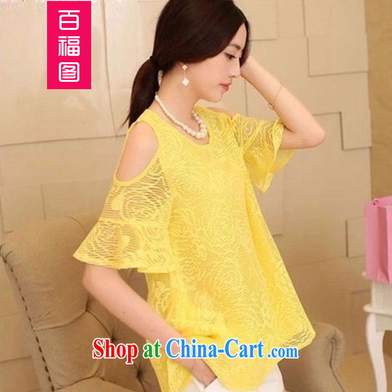 100 Of The 2015 new pregnant women T-shirt Openwork lace snow woven shirts terrace shoulder T-shirt maternity dress yellow M