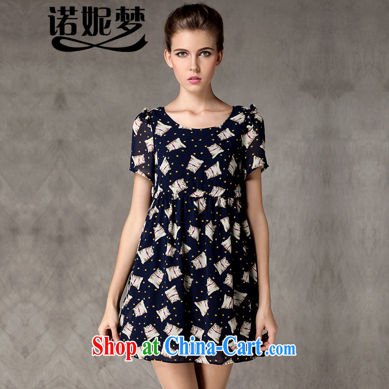 Connie's dream European and American high-end large Code women summer 2015 New MM thick cat and stamp duty drawcord waist-short-sleeved snow woven dresses Y 3249 blue XL