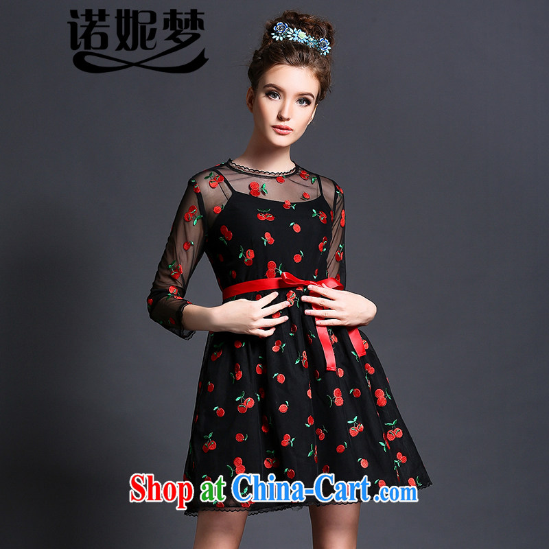 Connie's dream European and American high-end dresses two kits and indeed increase, female 200 Jack summer 2015 new thick MM-waist graphics thin skirt G 608 black XXL