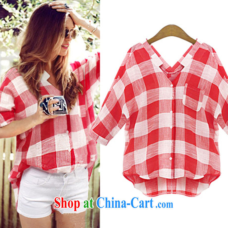 Pixel girl workshop 2015 spring new larger female street leisure long-sleeved shirt women 100 ground solid checkered shirt 8155 red 3 XL