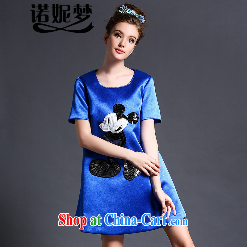 Connie's dream European and American high-end and indeed increase, female 200 Jack summer 2015 new aura card pattern short sleeve loose video thin dresses G 614 blue XXXXXL