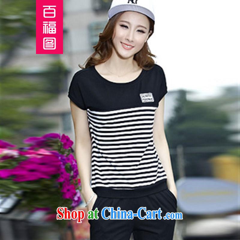 100 Of The 2015 short-sleeved Sport Kits girls summer 2015 new Korean leisure suite 7 girls pants larger black XXXL