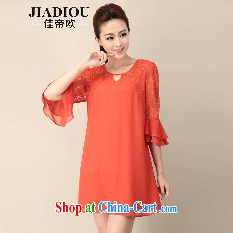 Better the Euro 2015 summer new, larger female thick MM lace stitching double horn cuff snow woven dresses girls orange red code 2 XL