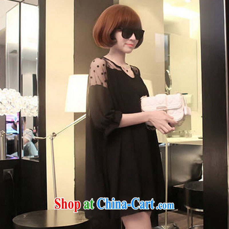 sin an average of 2015 new Korean version loose the code thick MM Web yarn stitching 5 pregnant women cuff solid ice woven dresses black XL