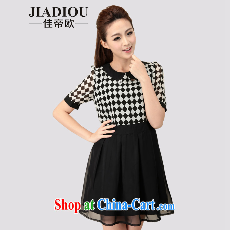 Better the Dili Europe summer 2015 new XL women mm thick skirts thick sister cultivating OL 1000 bird grid snow woven dresses black large number 2 XL