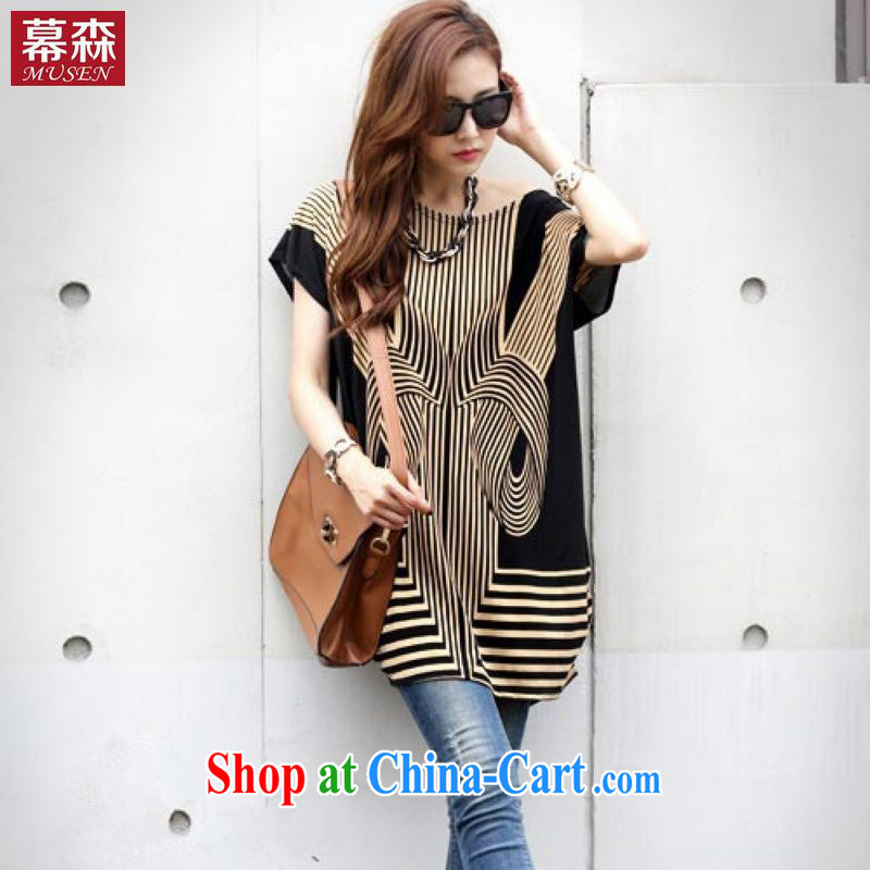 The sum 2015 summer women relaxed in Europe and the code with bat sleeves in stamp duty long loose T shirt thick MM T-shirt 200 jack to wear picture color code