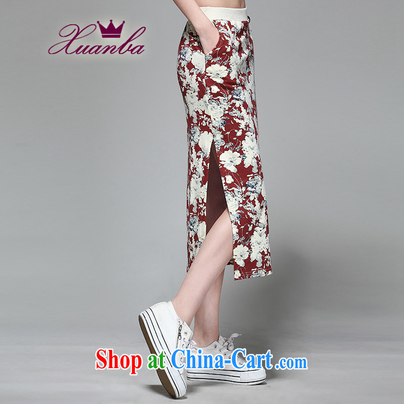 Cool Barbie ethnic cotton thick mm style floral long skirt beach dresses body skirt maroon 3XL