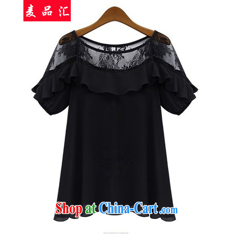 Mak, Exchange 2015 summer new female Korean version and indeed intensify, relaxed beauty graphics thin black meat short-sleeved round neck snow woven Openwork lace shirt 0826 black 5 XL
