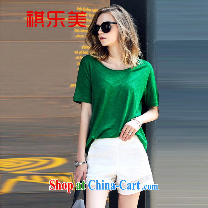 Sincerely, summer 2015 New American and European Big loose the code short-sleeved T-shirt + shorts set leisure two-piece female summer 2651 Y picture color XXXXXL
