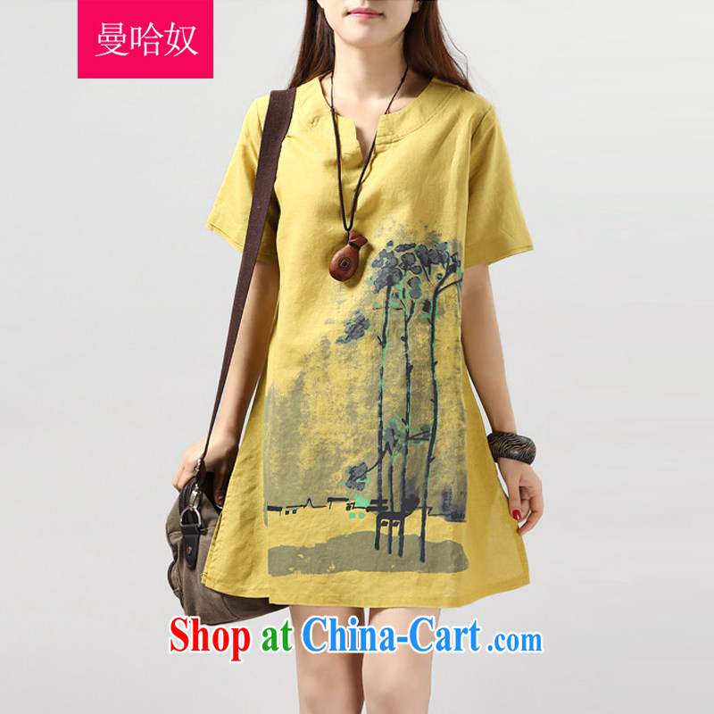 Cayman, slavery 2015 summer new female Korean loose the Code women dress mm thick arts van retro ink stamp short-sleeved cotton the skirt yellow XXL