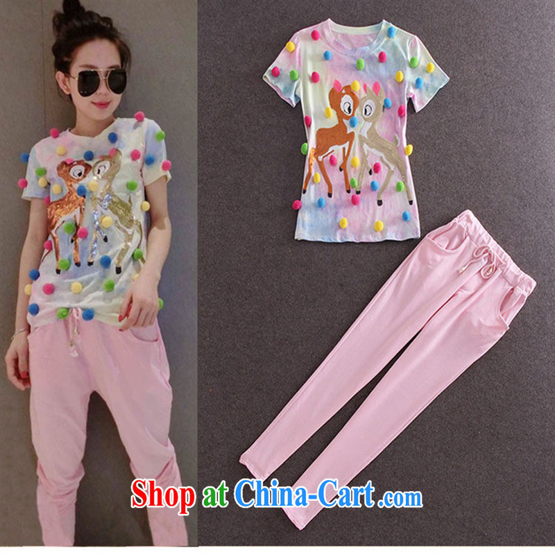hamilton 2015 spring and summer new foreign trade dress color plush, T-shirt + pants Kit WA 2919 figure M