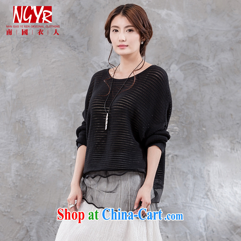 Xiao Nan Guo Yi, silence the code units the female literary spell yarn round-collar and knit shirts Solid Color loose black M