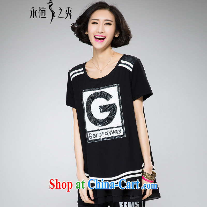 Eternal show the fat XL girls T-shirts thick sister 2015 summer new thick mm thick, graphics thin, light in Europe and America, letters, stamp duty long T shirt black 4 XL