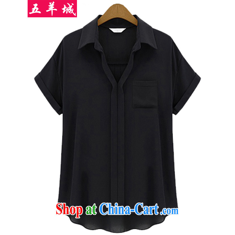 Five Rams City thick sister summer 2015 and is indeed increasing, female fat people graphics thin, cultivating snow solid woven shirt short-sleeved shirt T shirt 165 black 5 XL recommendations 180 - 200