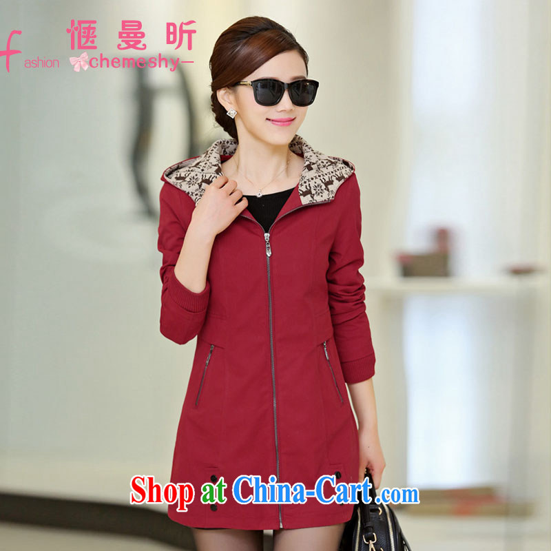 A pleasant, year, older women 2015 spring new long-sleeved cap larger relaxed mom with wind jacket ybl 508 wine red 4 XL