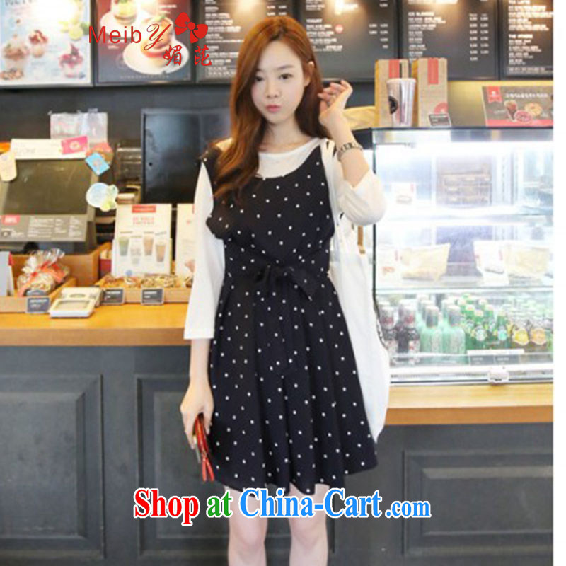 The Code women ground 100 Korean Sweet Dot bow tie strap skirt dresses long-sleeved shirt T two kits #3031 photo color XL