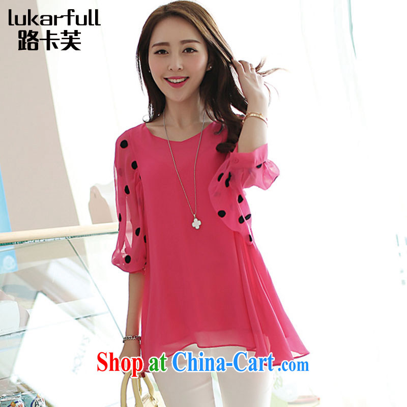 The card would be 2015 spring new, thick, women video thin, V-neck snow woven large code female summer 0041 A the red XXXL