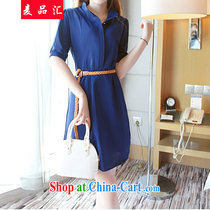Mr MAK, Korea Exchange Version 2015 summer new thick MM and indeed intensify, cultivating the waist graphics thin snow in woven cuff belt small V collar dresses 5113 dark blue XL
