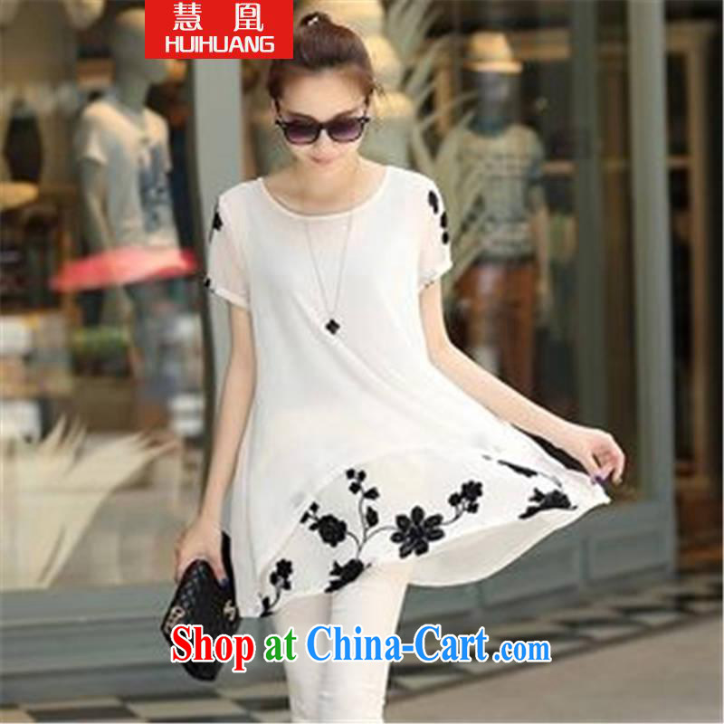 Emily for 2015 short-sleeved clothes snow woven shirts thick MM larger women's clothing dresses white XXL