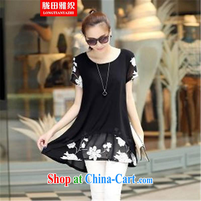 Measures, 2015 woven short-sleeved clothes snow woven shirts thick MM larger women dress black XXXL