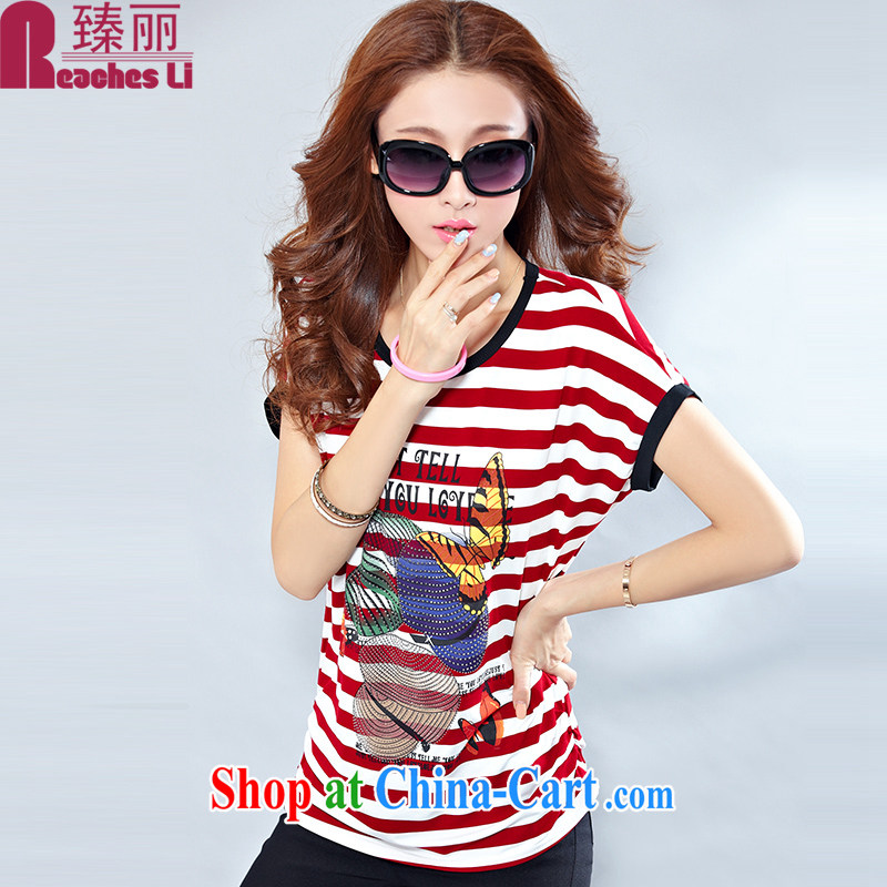 She touches on the MM code female short-sleeved T-shirt loose, streaks bat T-shirt casual stylish hot drill 2669 wine red M