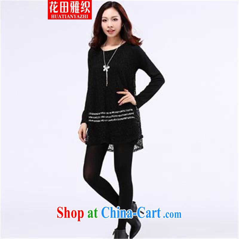 Flowers, 2015 woven graphics thin thick sister Korean knitting T shirt black large code XL