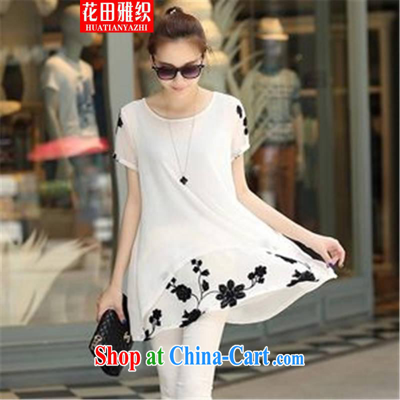 Flowers, woven 2015 short-sleeved clothes snow woven shirts thick MM larger women's clothing dresses white XXXL