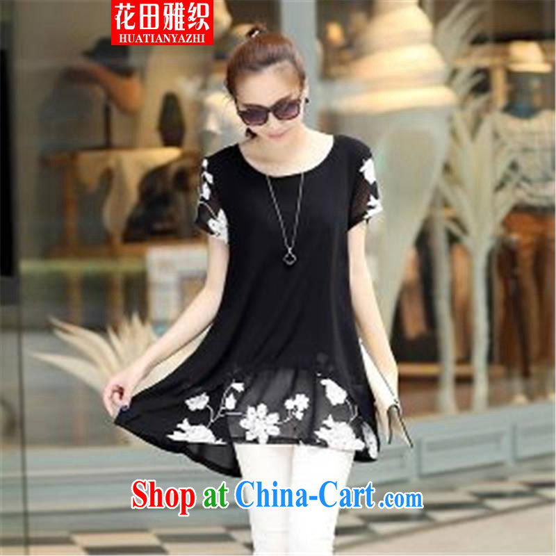 Flowers, woven 2015 short-sleeved clothes snow woven shirts thick MM larger women's clothing dresses black XXXL