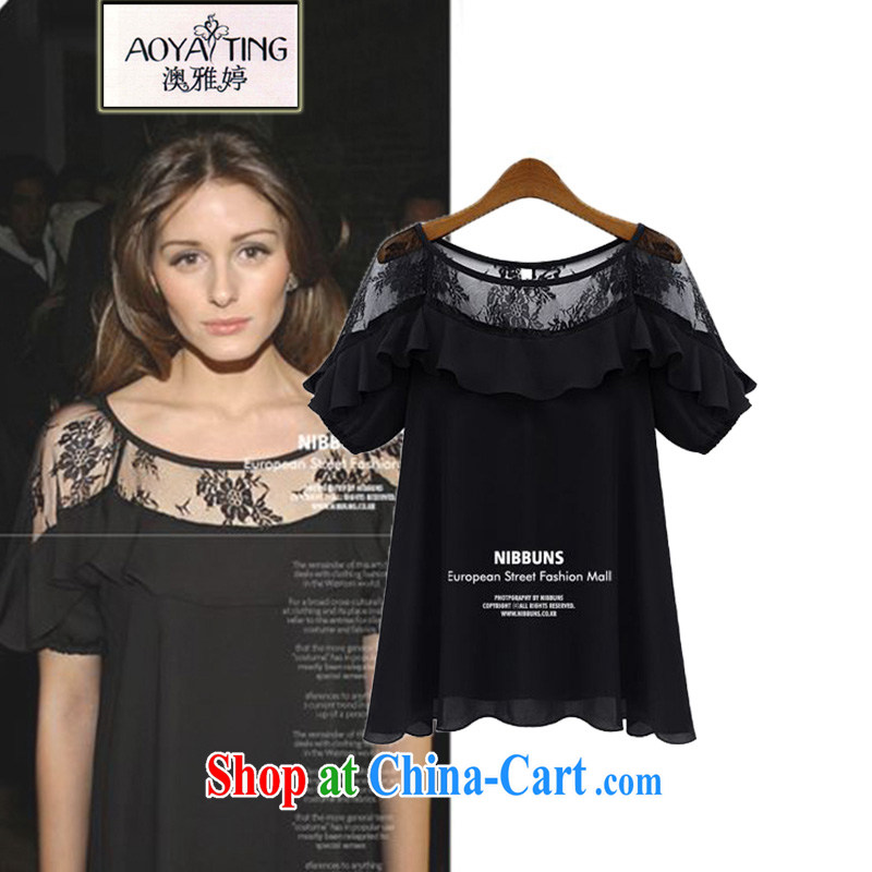 o Ya-ting 2015 summer new, larger female snow woven shirts thick MM the fat lace short-sleeved T-shirt girls 8 - 26 black 5 XL recommends that you 175 - 200 jack