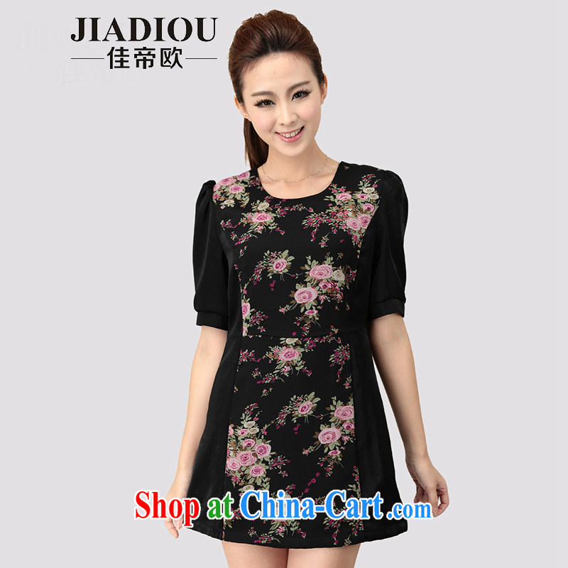 Better the Euro 2015 summer new XL thick MM graphics thin dresses retro stamp snow woven skirt black large code 5 XL