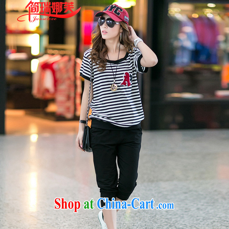 In short, people would be 2015 mm thick summer New, and indeed increase, short-sleeved 7 pants two-piece Sport Kit female J 725 black 4XL