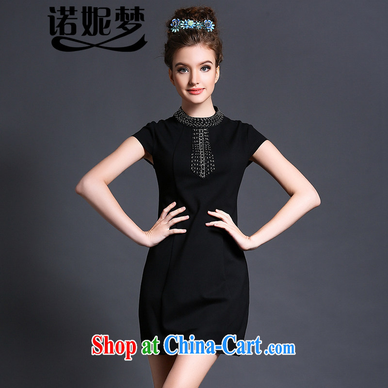 Connie's dream European and American high-end dresses 2015 new summer is indeed the XL female 200 Jack temperament nails Pearl mm thick graphics thin skirt G 1588 black XXXL