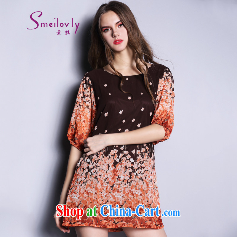 Of 200 Of The jack is indeed increasing, female fat MM spring summer 2015 new Korean version graphics thin loose dress short-sleeved 1602 floral orange large code 5 200 XL about Jack