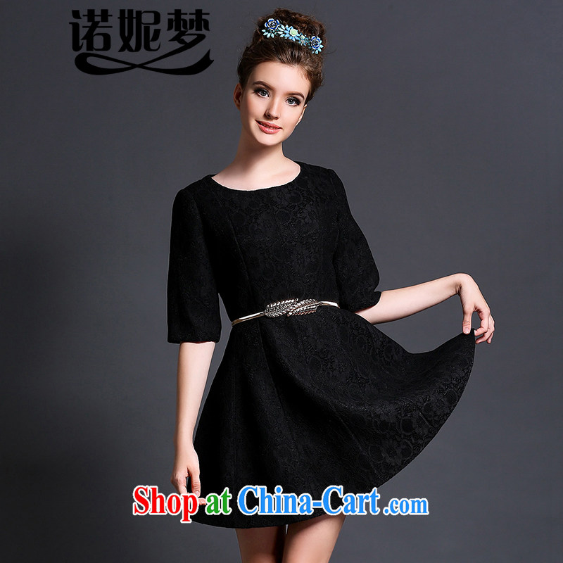Connie's dream in Europe high-end lace dresses and indeed XL women 200 Jack 2015 new summer elegance video thin skirt with belt loop G 629 black XXXXXL