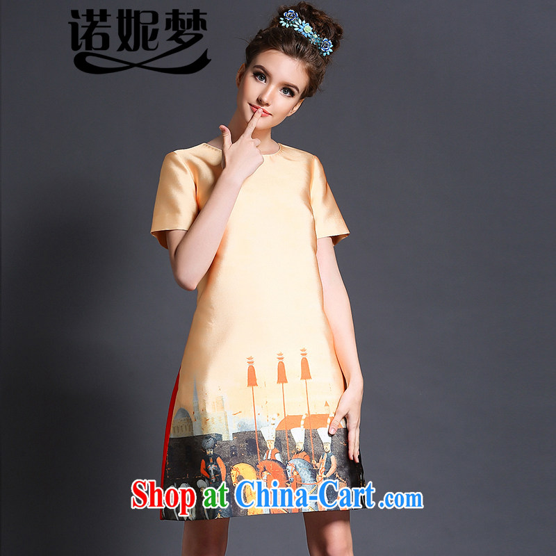 The Connie was a high-end European and American knights pattern stamp dresses 2015 new summer is indeed the XL female 200 Jack elegant graphics thin A field skirt G 620 yellow XXL