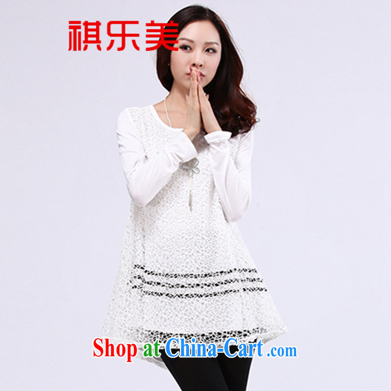 Sincerely, spring 2015 mm thick long lace small T-shirt and indeed increase, female video thin winter clothes thick sister Korean solid shirt T pension Y 2551 white XXXXL