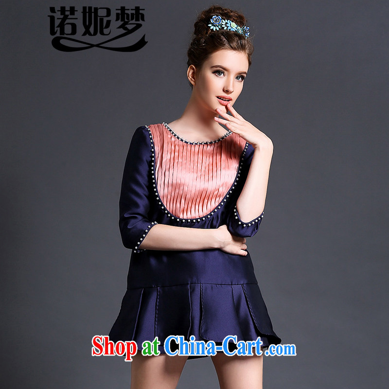 Connie's dream European and American high-end 2015 spring new dresses and indeed increase, female 200 Jack elegant graphics thin wrinkled cascading nails Pearl short skirts G 630 Po blue XXXXXL