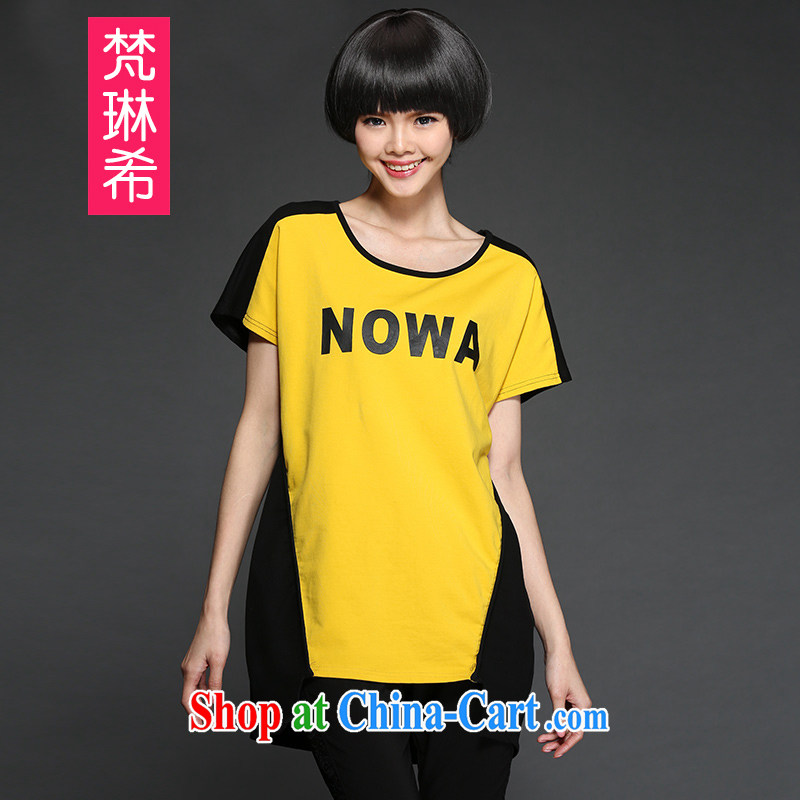Van Gogh, the larger female 2015 new summer stitching knocked color letter stamp, long, short-sleeved shirt T thick MM and indeed increase, T-shirt yellow 4 XL 175 Jack left and right