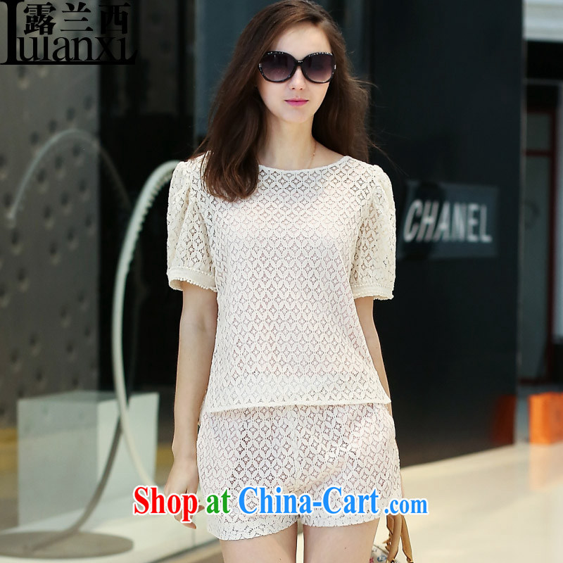 Terrace, Western Europe and the United States, the female loose short-sleeved Openwork lace T-shirt girls 2015 new girls and women T-shirt m White 3XL 150 - 165 Jack left and right