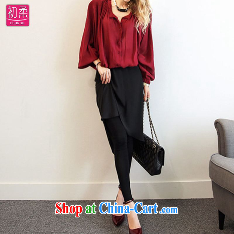 Flexible early 2015 spring and summer, women with large numbers in Europe and America as well as streets before stitching Solid Color pants thick MM graphics thin 200 jack is wearing a black xxxxxL