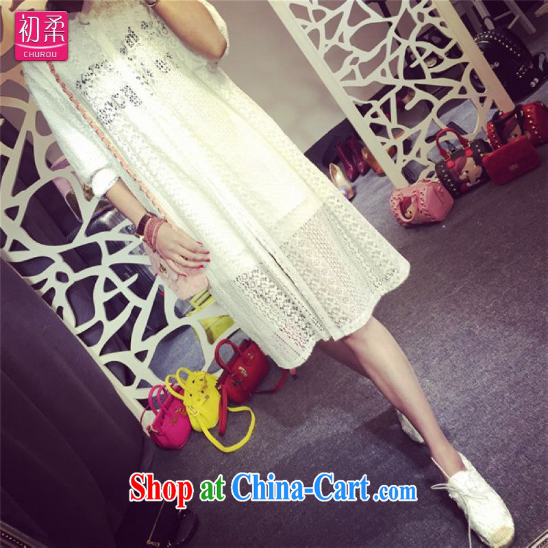 Flexible early 2015 spring and summer Women's clothes loose larger Openwork lace-yi, long shirt shirt thick MM graphics thin 200 jack can be seen wearing white XXXL