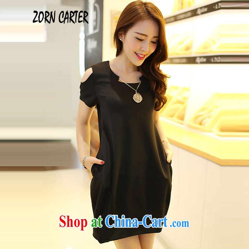 Zorn Carter summer 2015 mm thick larger female Korean version of the new graphics thin beauty bare shoulders dress 6855 Black Large Number 3 XL