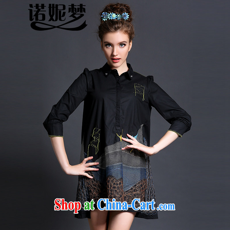 Connie's dream European and American high-end embroidery and indeed XL female 200 Jack summer 2015 new thick mm 7 cuffs loose video thin dresses G 607 black XXXL