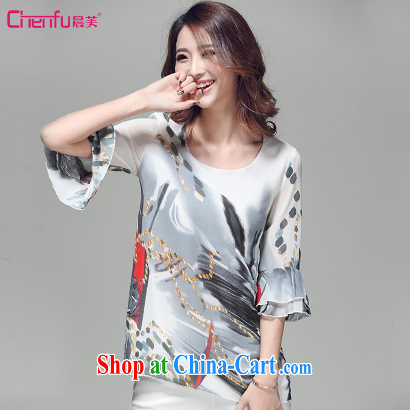 Morning would be 2015 summer new Korean trendy Code women painting stamp snow T woven shirts beauty graphics thin 100 in ground T cuff shirt stylish T-shirt girls fancy 3 XL