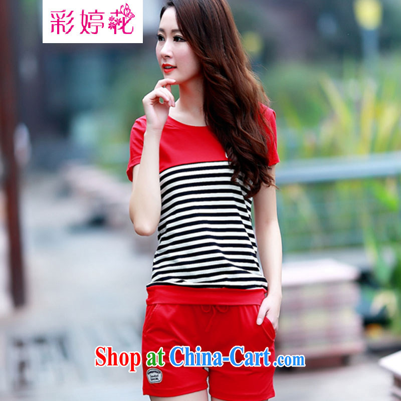 An MMS-ting spent 2015 summer new Korean women with large, stylish shorts sportswear Leisure package cotton two-piece 195 red XXXL