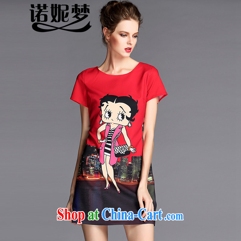 Connie's dream European and American high-end snow-woven dresses 2015 new summer is indeed the XL female 200 Jack stylish stamp on MM short-sleeved skirt G 068 red XXXL
