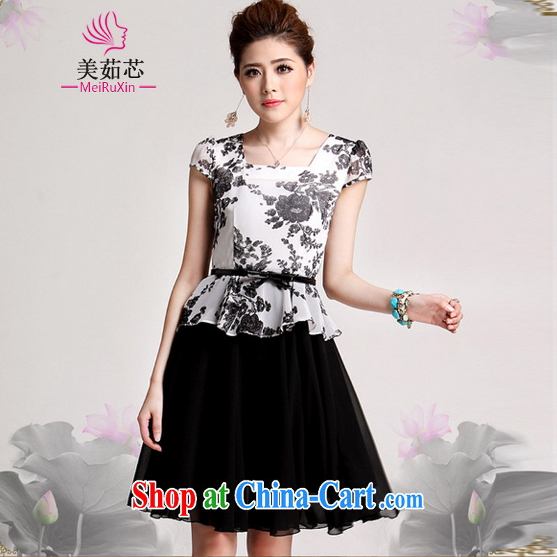 The US Ju-chipset 2015 Summer Load New Party for the short-sleeved leave two snow woven dresses Girls _the belt_ 5118 black XXXL